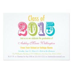 Rainbow Class Of 2015 Graduation Party Invitation Card