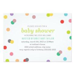 Rainbow Confetti Baby Shower Invitation Card