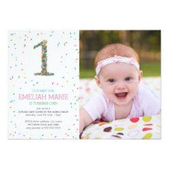 Rainbow Sprinkles 1St Birthday Party Invitation Card