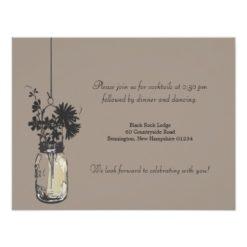Reception Card Wild Flowers & Mason Jar Invitation Card