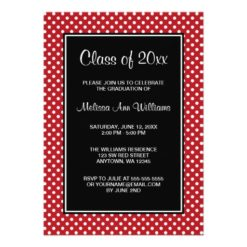 Red And Black Polka Dots Graduation Announcement Invitation Card