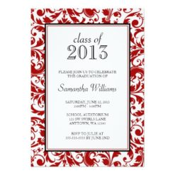 Red And Black Swirl Damask Graduation Announcement Invitation Card