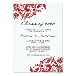 Red And Black Swirl Graduation Announcement Invitation Card