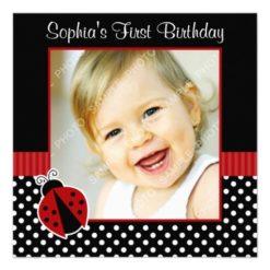 Red Black Ladybug Polka Dot 1St Birthday Photo Square Paper Invitation Card