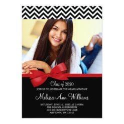 Red Bow Chevron Photo Graduation Announcement Invitation Card