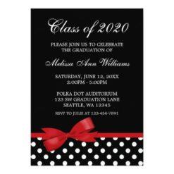 Red Bow Polka Dots Graduation Announcement Invitation Card