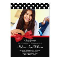 Red Bow Polka Dots Photo Graduation Announcement Invitation Card