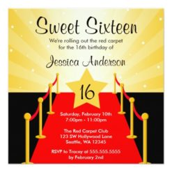 Red Carpet Hollywood Sweet 16 Birthday Party Square Paper Invitation Card