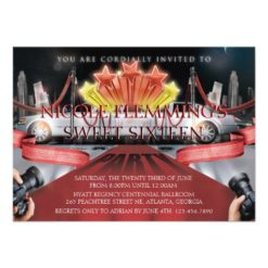 Red Carpet Sweet Sixteen Invitation Card