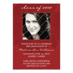 Red Daisy Photo Graduation Announcement Invitation Card