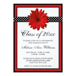 Red Daisy Polka Dots Graduation Announcement Invitation Card