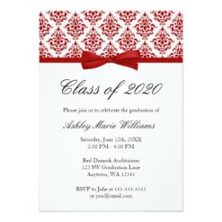 Red Damask Bow Graduation Announcement Invitation Card