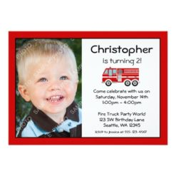 Red Fire Engine Birthday Party Photo Invitation Card