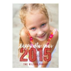 Red Glitter 2015   Holiday Photo Card Invitation Card
