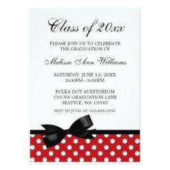Red Polka Dot Black Bow Graduation Announcement Invitation Card