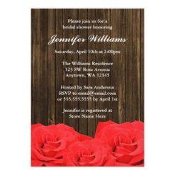 Red Roses Barn Wood Bridal Shower Invitation Card