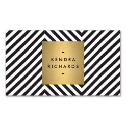 Retro Black And White Pattern Gold Name Logo Double-Sided Standard Business Cards (Pack Of 100)
