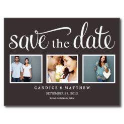 Retro Black   Save The Date Announcement Postcard