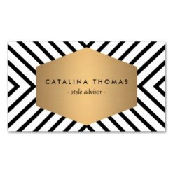Retro Mod Black And White Pattern With Gold Emblem Double-Sided Standard Business Cards (Pack Of 100)