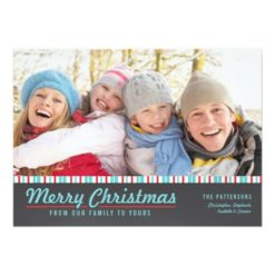 Retro Modern Merry Christmas Red Teal Photo Card Invitation Card