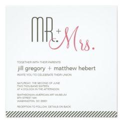 Retro Modern Wedding Square Paper Invitation Card