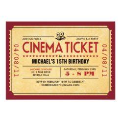 Retro Movie Ticket Invitation Card