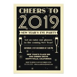Retro New Year Cheers To Party Invitation Card