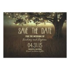 Romantic Night Lights Rustic Save The Date Cards Invitation Card