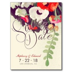 Romantic Red White Floral Save The Date Postcard