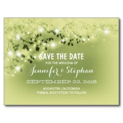 Romantic String Lights Mint Save The Date Postcard
