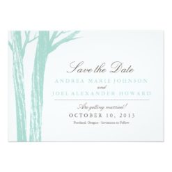 Rustic Blue Forest Wedding Save The Date Invitation Card
