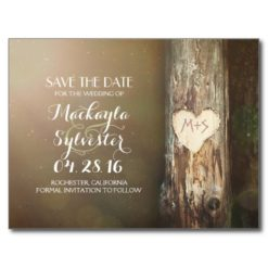Rustic Carved Heart Tree Save The Date Postcards