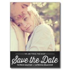 Rustic Chalkboard   Photo Save The Date Postcard