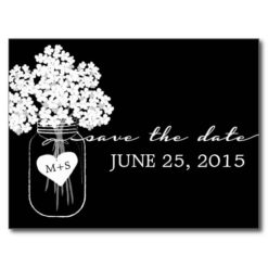 Rustic Chic Mason Jar Wedding Save The Date Postcard