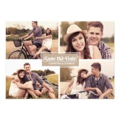 Rustic Four Photo Frame Save The Date Announcement Invitation Card