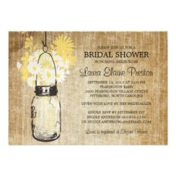 Rustic Mason Jar And Wildflower Daisies Invitation Card