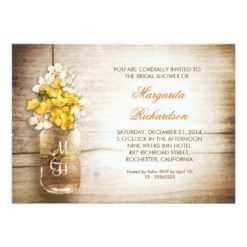 Rustic Mason Jar Bridal Shower Invitation Card