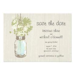 Rustic Mason Jar & Wildflowers Save The Date Invitation Card