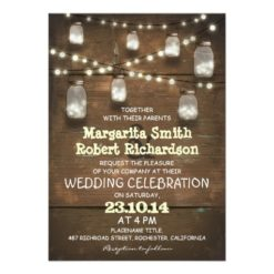 Rustic Mason Jars And Light Wedding Invitation Card