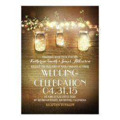 Rustic Mason Jars And Lights Wedding Invitation Card