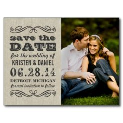 Rustic Photo Save The Dates   Vintage Poster Style Postcard