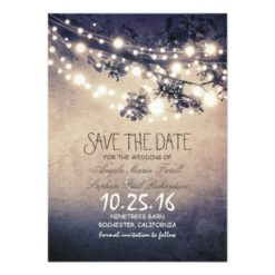 Rustic Tree Branches & String Lights Save The Date Paper Invitation Card