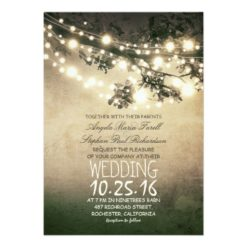 Rustic Tree Branches & String Lights Wedding Invitation Card