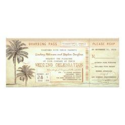 Rustic Vintage Boarding Pass Ticket Wedding Invitation Card