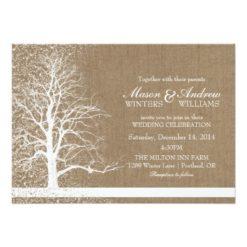 Rustic Winter Wedding Snow Tree Silhouette Burlap Invitation Card