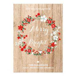 Rustic Wood Holiday Floral Wreath Christmas Card Invitation Card