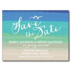 Sand Sea & Seagulls | Painted Ocean Save The Date Postcard