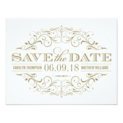 Save The Date | Antique Gold And White Flourish Paper Invitation Card