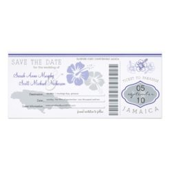 Save The Date Boarding Pass To Jamaica Invitation Card