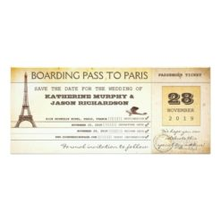 Save The Date Boarding Pass To Paris France Invitation Card